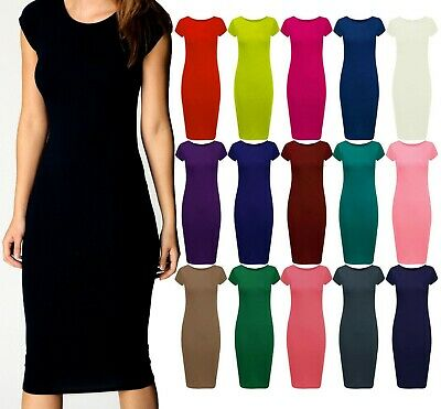 Womens Ladies Cap Sleeve Midi Dress Bodycon Summer Maxi Midi Dress Plus Size Cap Sleeve Plus Size Cap