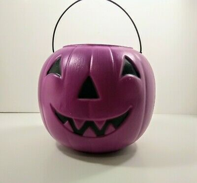 Vintage Halloween Blow Mold General Foam Plastics Pumpkin Candy Pail Purple