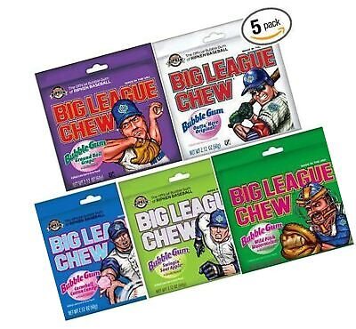 Big League Chew Bubble Gum Variety Pack 5 Great Flavors with Cotton Candy, So... - Big League Chew Flavors