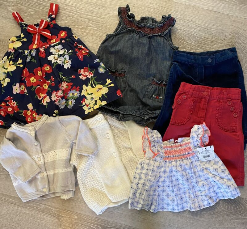 Janie And Jack Baby Girl Lot 3-6 Months 7 Pieces Dress, Romper, Pants Sweater