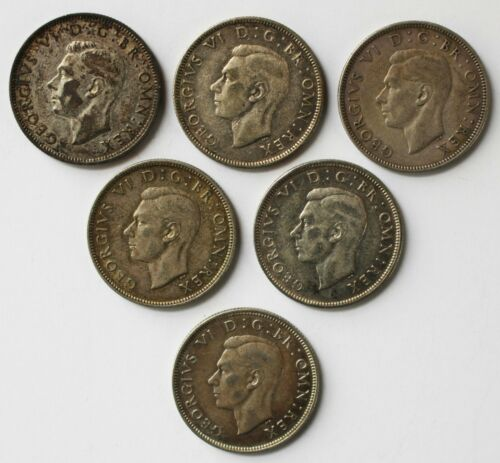 6 Coin Lot 1939-1946 Great Britain Silver Two Shilling Florin Coins You Grade