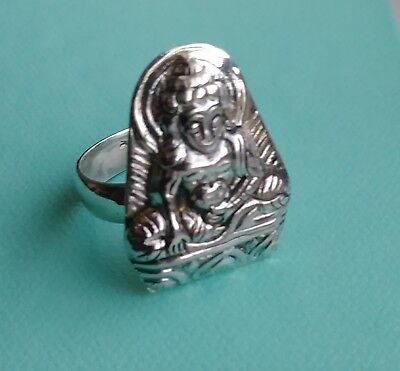 Buddha Touches Earth Mudra Ring Vintage Sterling Silver Marked 925
