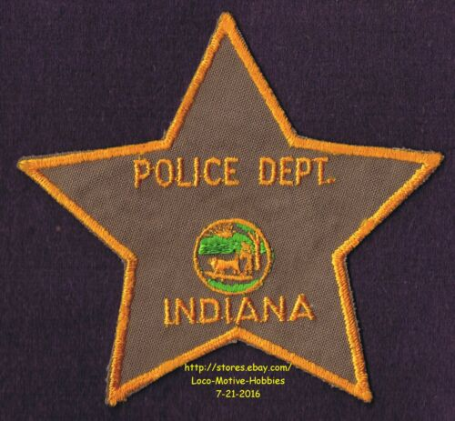 LMH Patch POLICE Department Brown Star INDIANA State PIONEER Seal Logo Buffalo