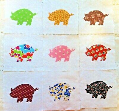 Lot of 9 Cotton Fabric Quilt Top Blocks Kit Pigs  Appliques 6