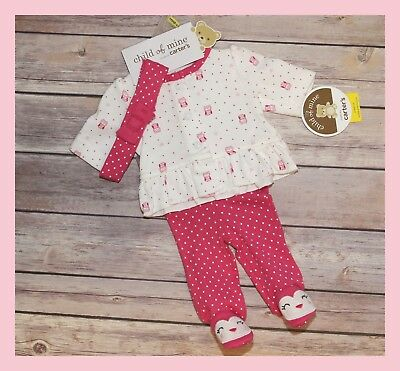 """NEW ~ """"Owl"""" Baby Girl Preemie Outfit / Reborn Clothes + Headband"""
