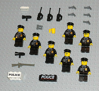 LEGO minifigures 7 Policemen SWAT TEAM Minifigs Lot Police Guys City People Guns
