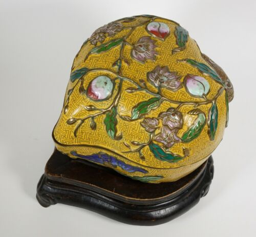 A Chinese Antique Cloisonné peach box - Late Qing to Republic with wood stand