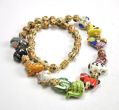 Vintage Chinese Zodiac Animal Hand Paint Porcelain Necklace Bead Character 24