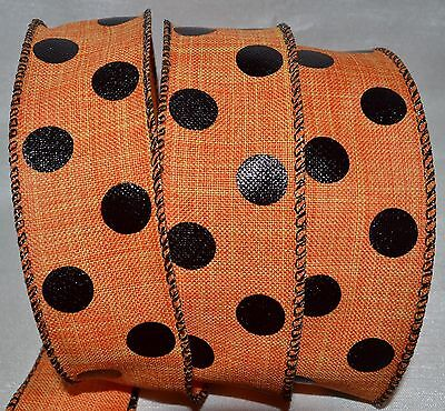 Wired Ribbon~Woven Halloween Orange~Black Dot~1.5