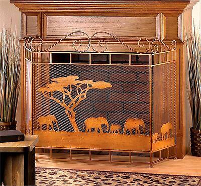 WILD SAVANNAH ELEPHANT FIREPLACE SCREEN SAFARI AFRICAN DECOR