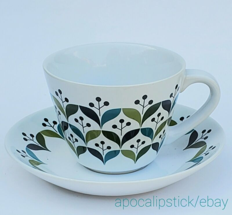 Lotta Odelius for Sagaform Stoneware Retro Coffee Tea Cup with Saucer 12 Ounce
