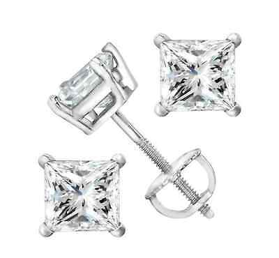 2 ct Princess Cut Solitaire Stud Earrings 14k Real White Gold Screw Back