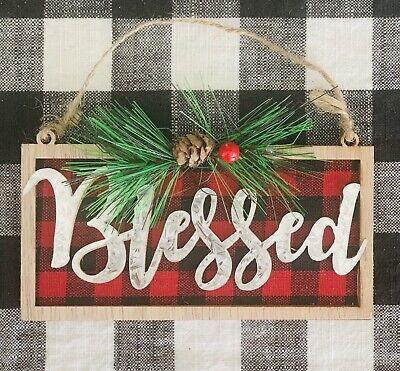 "Christmas Ornament ""Blessed"" Farmhouse Country Rustic Farm Buffalo Check"