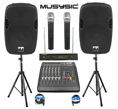 """Professional 2000W PA System 6 Channel Mixer 10"""" Speakers Dual Wireless Mic"""