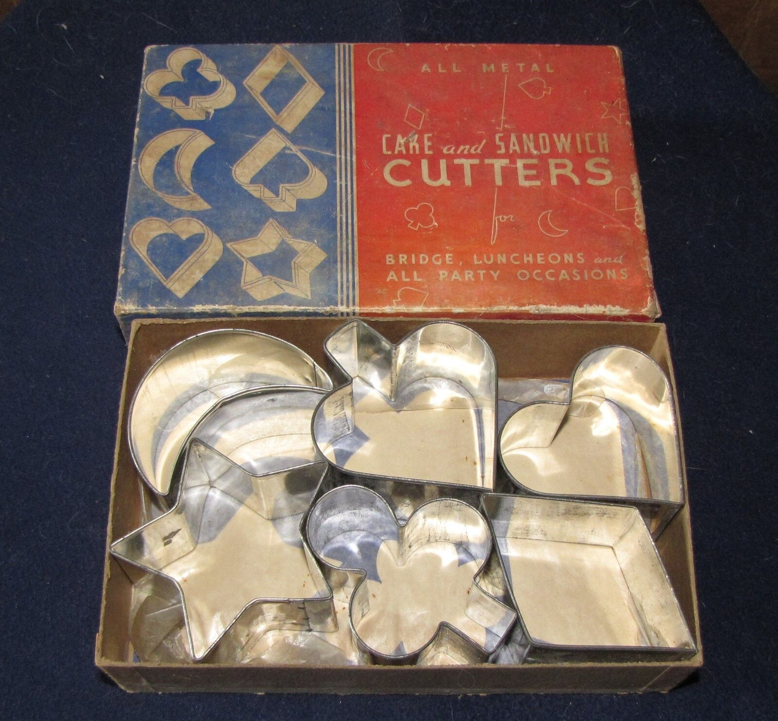 6 Metal Cake Sandwich Cutters Bridge Luncheons Party Occasions With Box - $19.99