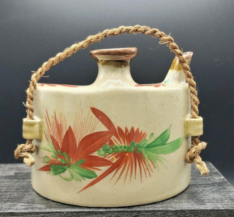 Vtg Japanese Pottery Awamori Sake Dashibin Bottle Ryukyu Ware Vase - stamped