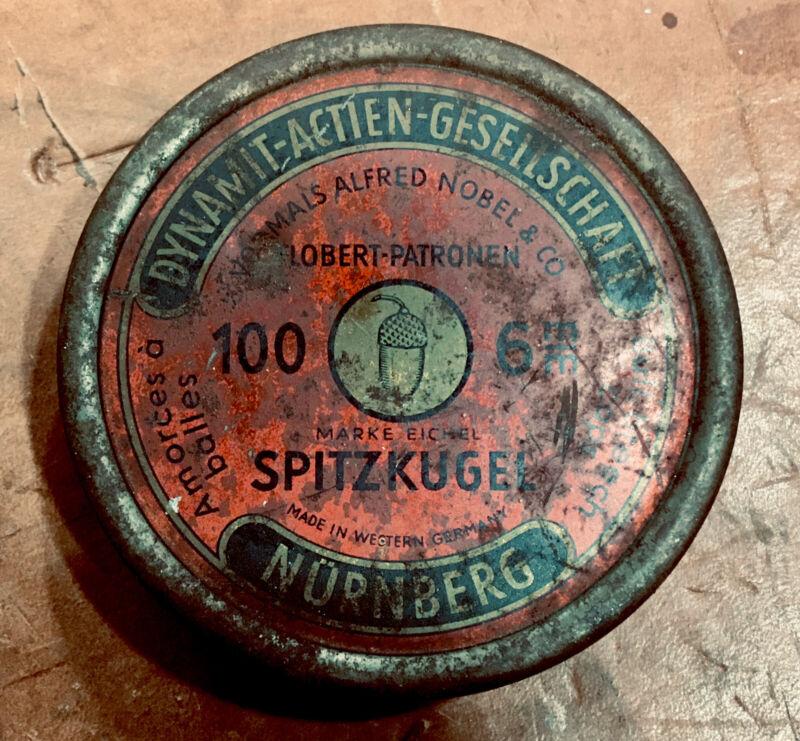 Vintage DAG Nobel • 6mm Spitzkugel / Flobert / Bull Breach Cap Ammo Tin • Empty