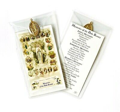 MYSTERIES OF THE HOLY ROSARY PRAYER CARD & Our Lady of Lourdes Medal