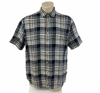 Lacoste Mens Short Sleeve Plaid 100% Linen Button Down Shirt Size 44