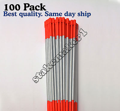 Driveway Markers Snow Stakes 100 Pack of 48 Inch Long Orange Reflective markers