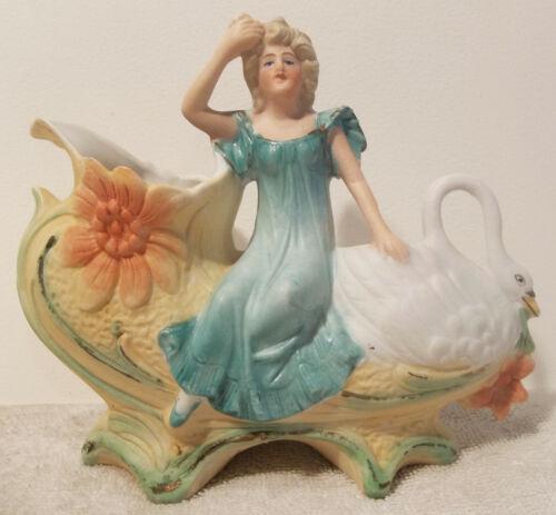 Antique German Bisque Porcelain Figurine Lady Leda & Swan Spill Vase Creamer