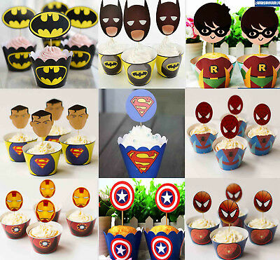 PK12 SUPERHERO AVENGERS CUPCAKE LINERS WRAPPERS & CAKE TOPPERS BIRTHDAY PARTY - Superhero Cupcake Liners