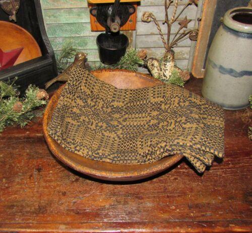 Prim Antique Style Vernon Weave Blk Mustard Cotton Woven COVERLET RUNNER AQ4BMSR