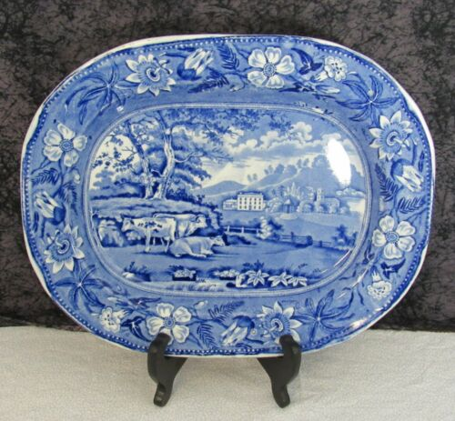 "Staffordshire Blue Transferware Wiseton Hall Nottinghamshire 13"" Platter"