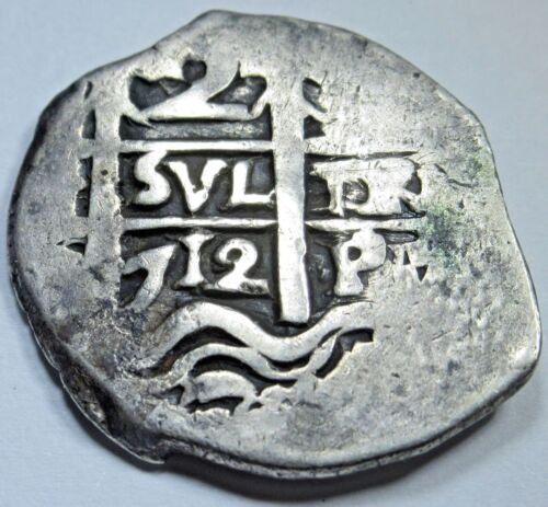 1712 Potosi Spanish Silver 2 Reales Piece of 8 Real Colonial Two Bit Pirate Coin