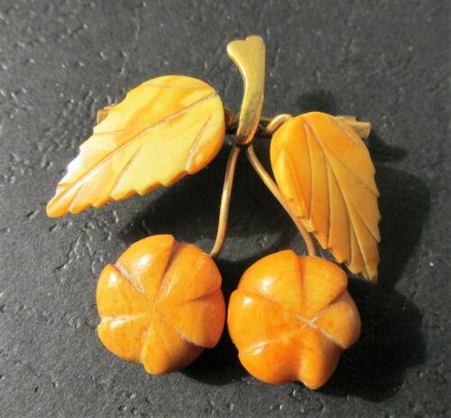 Antique Natural Butterscotch Egg Yolk Baltic Amber Brooch 4.2g.