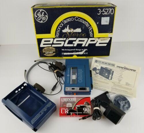 Vintage GE General Electric Escape Portable Cassette Player 3-5270A Complete