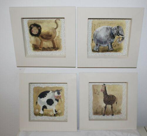 Animals Prints for Nursery - Set of 4 (Four) 6x6.5 Cow, Elephant , Lion, Giraffe