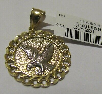 10k Yellow gold and white gold Eagle round medallion Charm 1