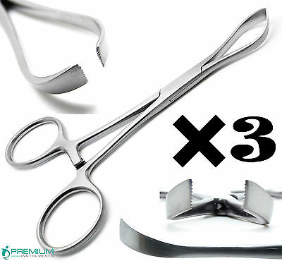 3 Pcs Dental Veterinary Lorna Towel Clamp Forceps 5.25 Surgical Instruments