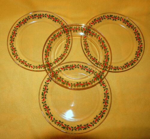 "4 Libbey HOLLY & Ribbon Dishes / Arcoroc 10"" Dinner Plates ~ Nice!"