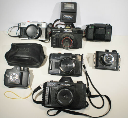 Seven Vintage  Cameras. GMTEX, OTB, Hanimex, Sitacon, Cardinal, YN500, No Name