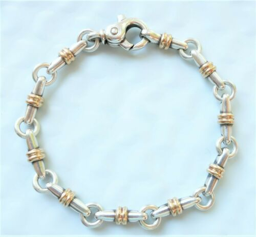 AUTHENTIC Tiffany & Co 18k Yellow Gold Sterling Long Bar Link Bracelet NAUTICAL