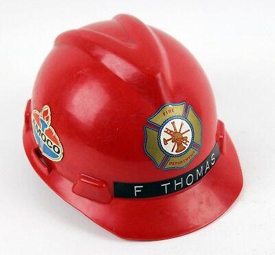 Plastic Fire Helmet (Vintage Fire Department Firemans Plastic Helmet Hat Red Amoco MSA Adult)
