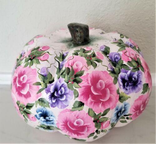Hand Painted Paper Mache Pumpkin Pink Purple Blue Roses & Flowers