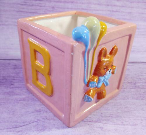 Baby Block Girl Nursery Decor Pink Letter B Ceramic Bears Balloons Square Holder