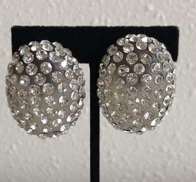 Vintage BIG Smokey Grey Lucite w/ Rhinestones Crystal Clip Oval Button Earrings