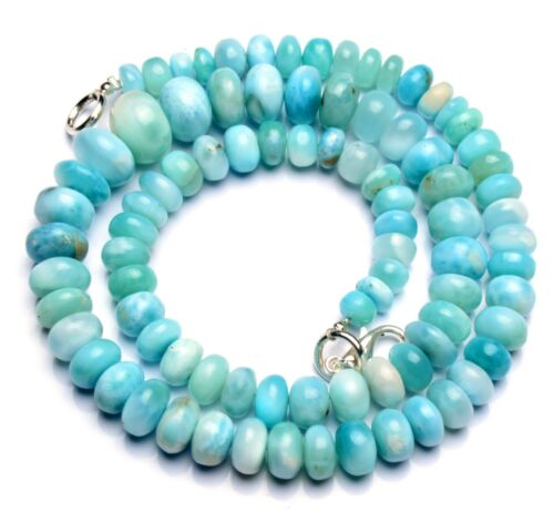Natural Gemstone Larimar Smooth Rondelle Beads Necklace 6 to 11mm Size 17 Inch