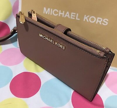NEW Michael Kors Jet Set Travel Leather Double Zip Wristlet/Wallet Dusty Rose