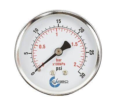 2-12 Pressure Gauge - Chrome Plated Steel Case 14npt Back Mnt. 30 Psi