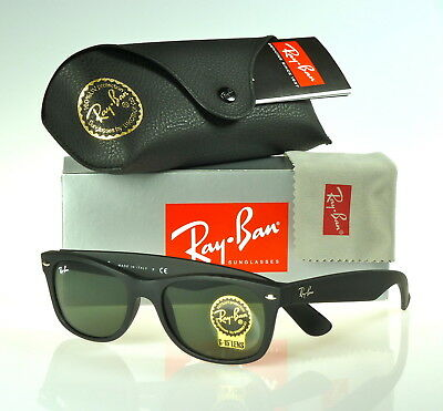 RAY-BAN NEW WAYFARER RB2132 622 52MM MATTE BLACK RUBBER / GREEN CLASSIC (Rb2132 Rubber)
