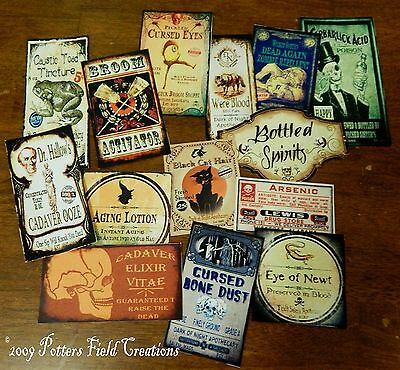 14 Halloween Vintage prim Witch Apothecary potion bottle Label stickers Series 3
