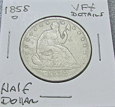 Click now to see the BUY IT NOW Price! USA HALF DOLLAR 1858 O NEW ORLEANS VF  DETAILS