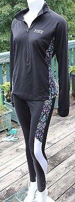 Victoria's Secret PINK Geo/Black Ultimate Half Zip Pullover/Yoga Leggings SET! S