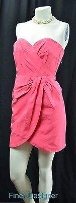 - H&M Party Fuchsia Strapless Dress hot pink mini gown side bow mock wrap SZ 4 NEW