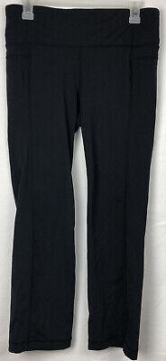 Athleta Leggings Large Black Straight Up Crop Capri Pants Running Yoga 983309